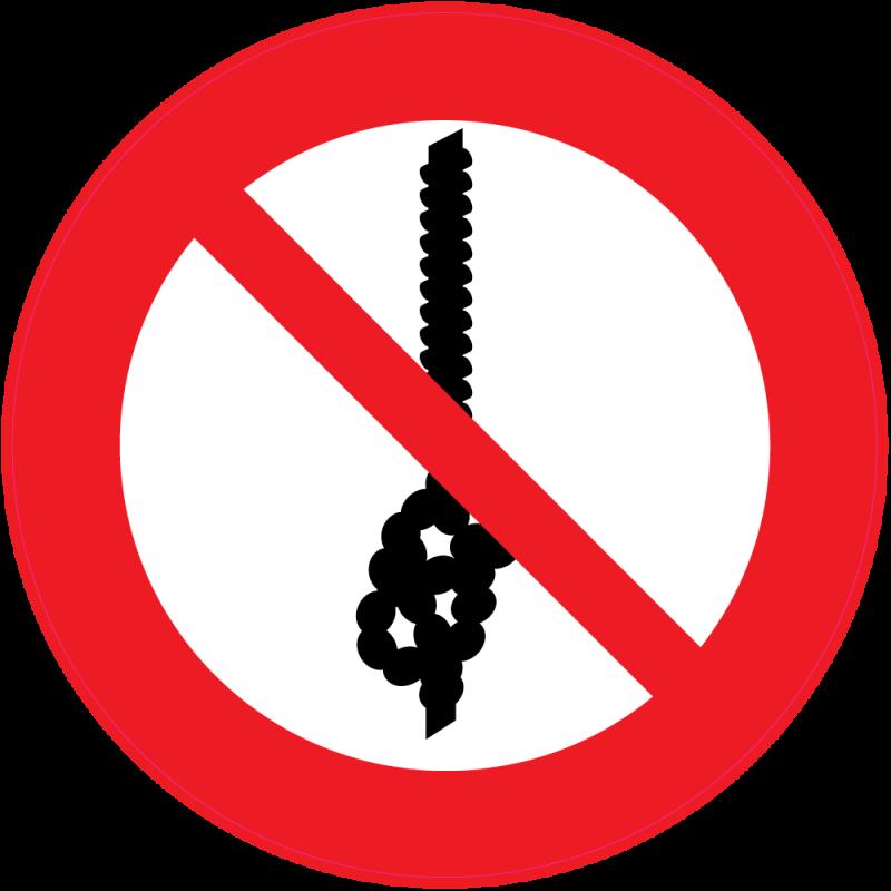 panneau interdiction de faire un noeud avec la corde autocollants stickers. Black Bedroom Furniture Sets. Home Design Ideas