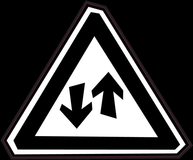 panneau bomb danger circulation double sens autocollants stickers. Black Bedroom Furniture Sets. Home Design Ideas