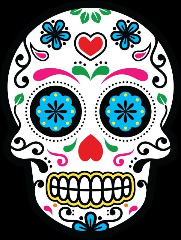 Calavera tete de mort mexicaine 24 autocollants stickers - Tete de mort dessin simple ...
